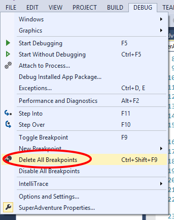 Visual Studio 2013 Delete All Breakpoints