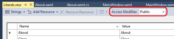 Resource file, with AccessModifier set to Public