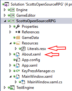 WPF project, with Resource folder, holding Literals.resx