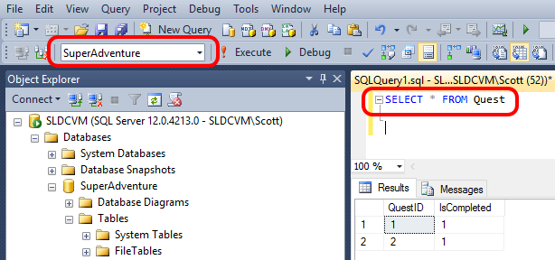 SQL Server Management Studio query