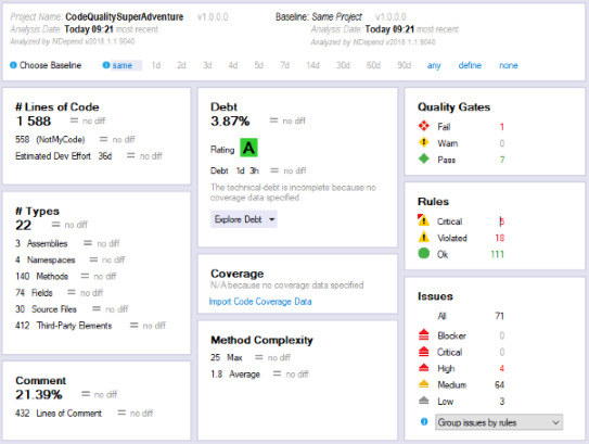 NDepend dashboard in Visual Studio