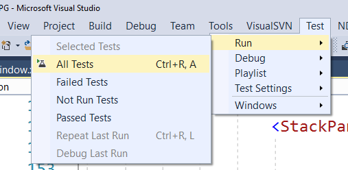 Visual Studio menu option to run unit tests